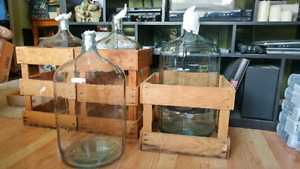 Glass carboys with crates