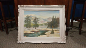 Painting with wooden frame