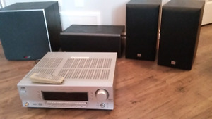Home audio surround sound system with speakers and subwoofer