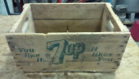 Vintage 7up wooden crate