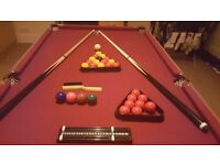 6ft pool table BARGAIN with snooker and pool set