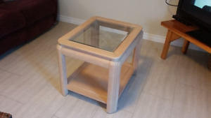 2 end Tables , Ash and tempered glass (solid tables)