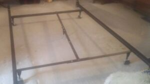 Bed Frame, heavy duty, centre support rail, adjustable, wheels