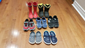 Toddler Boys Winter boots, Runners and Rain boots- 7 Pairs EUC