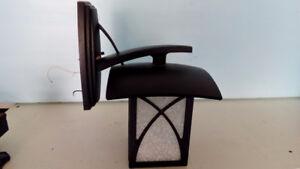 Black square iron outdoor light