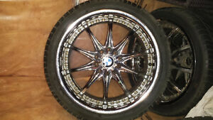 "18"" chrome rims on tires"