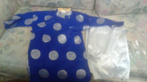 Blue colour .very nice and white pant