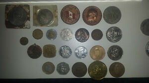 Old random coins and tokens and silver dollars