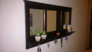 Wood framed mirror / shelf / keyring holder for hallway