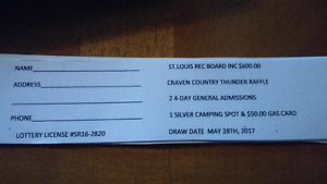 $600.00 craven country thunder fundraiser raffle