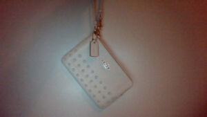 Coach Off White Wristlet with Rivets and Gold Hardware Authentic