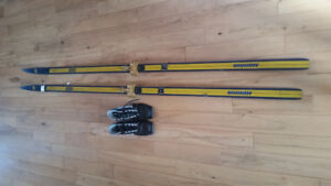 Retro cross country skiis with boots