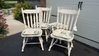 Sturdy Off White All Wood Kitchen Chairs with pads