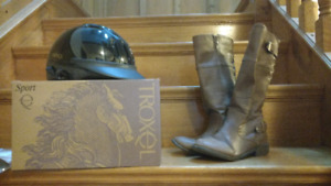 Horse riding helmet (brand new), boots & Riding Canada hoodie