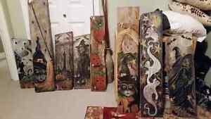 Halloween paintings on classic barn board