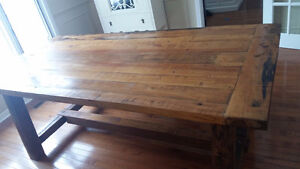 Gorgeous custom-made truly rustic harvest table and bench