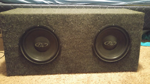 """2 10"""" subwoofers and amp for trade"""
