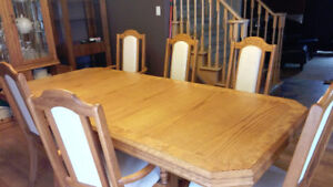 Oak DINNING ROOM Table 6 Chairs China Cabinet Leaf by ARCESE