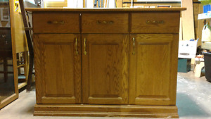 Oak buffet and hutch