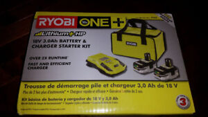 RYOBI 18-Volt ONE+ Lithium Battery 3.0 Ah 2 pack with charger