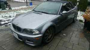 2005 BMW M3 E46, Convertible. Silver on Red.