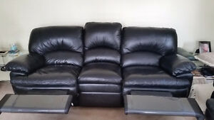Eztia Top Grain Leather Luxury Reclining 3 pcs Black Leather Set