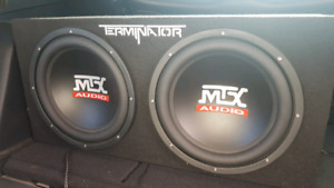 """MTX dual 12"""" enclosure with 250 rms amp"""