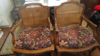 Two ANTIQUE Louis XV Rococo chairs with wicker backs