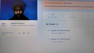 2 tickets for Childish Gambino at The Chicago Center 8th august