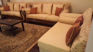 Two 3 seater sofas and one 2 seater settee including Rug
