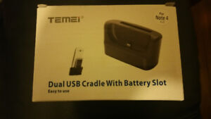 samsung Note 4 dual usb cradle with battery slot charger
