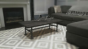Rustic Coffee Table with black metal pipe base