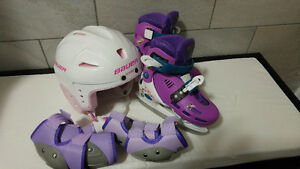 Skates + Helmet + Pads for Little Girl (set)