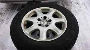 225x60x16 on 5x112 Mercedes alloy wheels. Tires only one month o