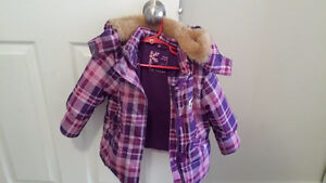 Toddler size 2T pink/purple plaid winter jacket w/ faux fur hood