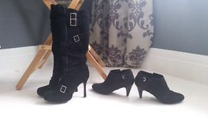 Knee high suede high heel boots size 11 ankle boots