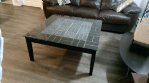 Solid wood (ebony) w/ porcelain tiles black, grey & cracked ice