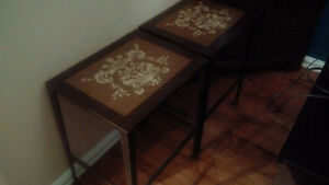 Set of 3 metal tables - brown with cream/gold design