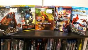 Justice League -- Thor : Ragnarok -- DVDs from my Bluray sets