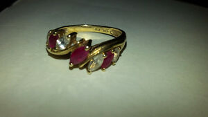 New Synthetic Ruby & Cubic Zirconia  ring