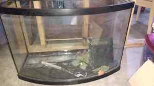 40-50 gallon bowfront tank glass hood broken as is priced GO!