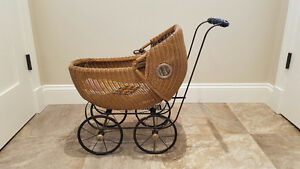 Antique Wicker Doll Carriage