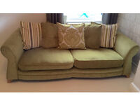 DFS 4 Seater Sofa and Cuddle Chair in Green