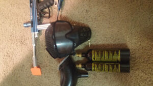 Paintball marker, pod, mask, 9oz and 12oz CO2 canisters
