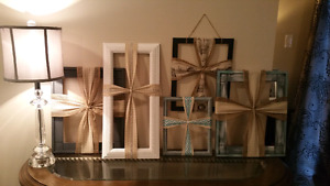 Burlap picture frame crosses