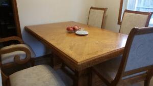 Solid Oak Dining Table Set For Sale $350.00 In Belleville