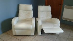 2 Fauteuils inclinables blanc