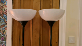 2x IKEA standing floor lamps with bulbs