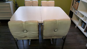 Retro white leather kitchen table