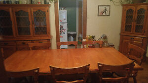 Dining Set - Large Table with 2 leaves, 8 Chairs & 2 Hutches